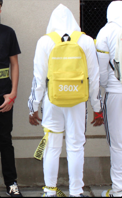 Yellow 360x BackPack - White Print -