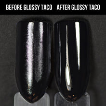 Load image into Gallery viewer, Holo Taco Glossy Taco before and after, over One-Coat Black