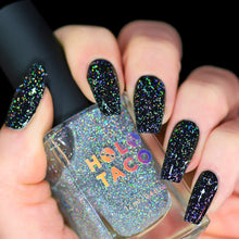 Load image into Gallery viewer, Flakie Holo Taco over One-Coat Black