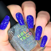 Load image into Gallery viewer, Flakie Holo Taco over Royal-Tea Blue