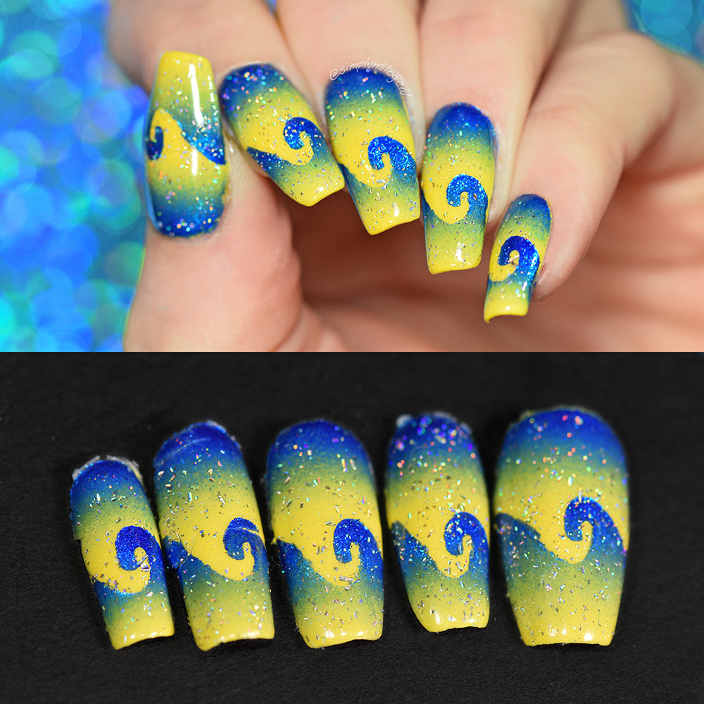 Full nail art manicure with blue and yellow swirls above, with full set of intact removed peelies below