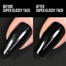 Load image into Gallery viewer, Holo Taco Super Glossy Taco before and after, over One-Coat Black on a nail