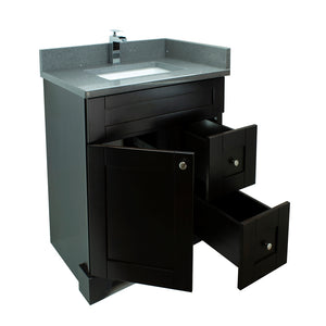 "24"" Espresso Damian Vanity with Crystal Grey Quartz"