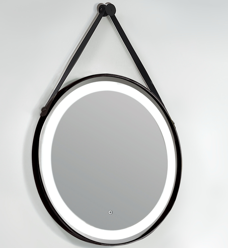 Lukx Bold Elite Round LED Mirror - Leather Strap with Matt Black Frame