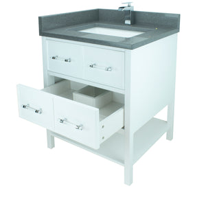 "24"" White Gemma Vanity with Crystal Grey Quartz"
