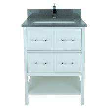 "Load image into Gallery viewer, 24"" White Gemma Vanity with Crystal Grey Quartz"