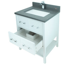"Load image into Gallery viewer, 30"" White Gemma Vanity with Crystal Grey Quartz"