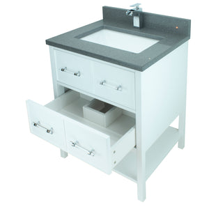 "30"" White Gemma Vanity with Crystal Grey Quartz"