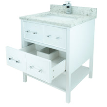 "Load image into Gallery viewer, 36"" White Gemma Vanity with Milky Way Quartz"