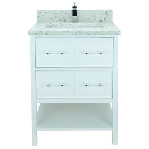 "24"" White Gemma Vanity with Milky Way Quartz"