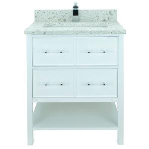 "36"" White Gemma Vanity with Milky Way Quartz"