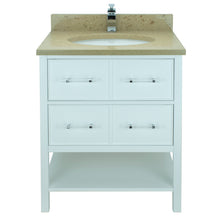 "Load image into Gallery viewer, 36"" White Gemma Vanity with Royal Brown Quartz"