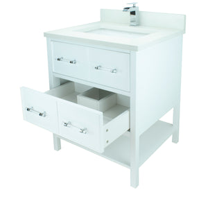 "36"" White Gemma Vanity with Silk White Quartz"