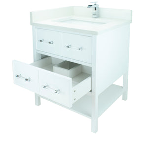 "30"" White Gemma Vanity with Silk White Quartz"