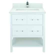 "Load image into Gallery viewer, 36"" White Gemma Vanity with Silk White Quartz"