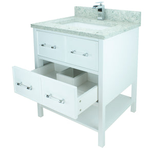 "36"" White Gemma Vanity with Topaz Quartz"