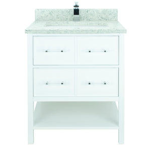 "30"" White Gemma Vanity with Topaz Quartz"