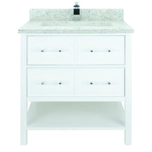 "Load image into Gallery viewer, 36"" White Gemma Vanity with Topaz Quartz"