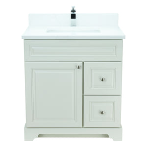 "30"" Antique White Damian Vanity with Classique Calcutta Quartz"