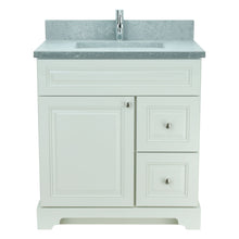 "Load image into Gallery viewer, 36"" Antique White Damian Vanity with Concrete Leather Quartz"