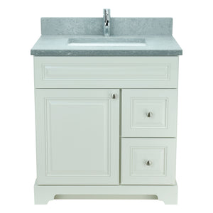 "36"" Antique White Damian Vanity with Concrete Leather Quartz"