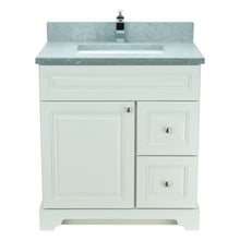 "Load image into Gallery viewer, 30"" Antique White Damian Vanity with Concrete Leather Quartz"