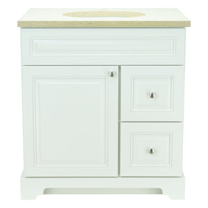 "24"" Antique White Damian Vanity with Royal Brown Quartz"
