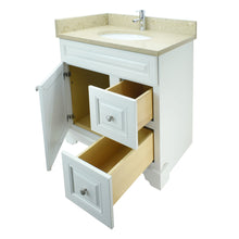 "Load image into Gallery viewer, 24"" Antique White Damian Vanity with Royal Brown Quartz"