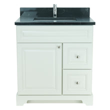 "Load image into Gallery viewer, 30"" Antique White Damian Vanity with Moonlight Black Quartz"