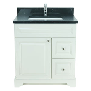 "30"" Antique White Damian Vanity with Moonlight Black Quartz"