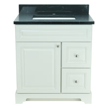 "Load image into Gallery viewer, 36"" Antique White Damian Vanity with Moonlight Black Quartz"