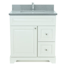 "Load image into Gallery viewer, 36"" Antique White Damian Vanity with Crystal Grey Quartz"