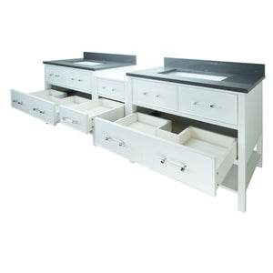 "62"" White Gemma Vanity with Crystal Grey Quartz"
