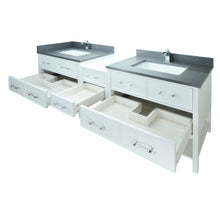 "Load image into Gallery viewer, 62"" White Gemma Vanity with Crystal Grey Quartz"
