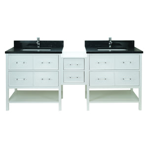 "86"" White Gemma Vanity with Moonlight Black Quartz"