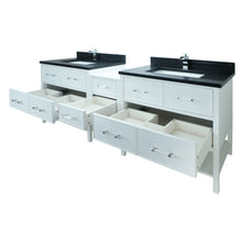"Load image into Gallery viewer, 86"" White Gemma Vanity with Moonlight Black Quartz"