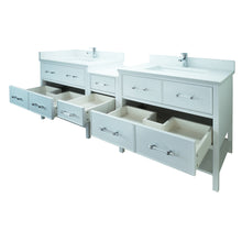 "Load image into Gallery viewer, 86"" White Gemma Vanity with Carrera Quartz"