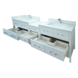 "86"" White Gemma Vanity with Carrera Quartz"