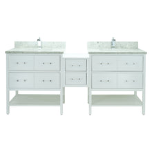 "Load image into Gallery viewer, 86"" White Gemma Vanity with Topaz Quartz"