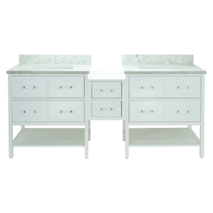 "86"" White Gemma Vanity with Topaz Quartz"