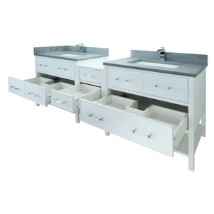 "86"" White Gemma Vanity with Concrete Leather Quartz"