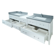 "Load image into Gallery viewer, 86"" White Gemma Vanity with Concrete Leather Quartz"