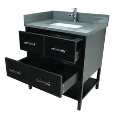 "Load image into Gallery viewer, 30"" Black Gemma Vanity with Crystal Grey Quartz"