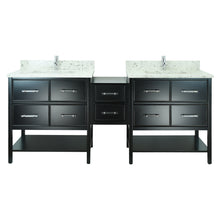 "Load image into Gallery viewer, 74"" Black Gemma Vanity with Milky Way Quartz"