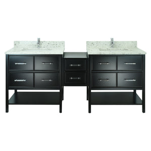 "74"" Black Gemma Vanity with Milky Way Quartz"