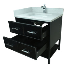 "Load image into Gallery viewer, 30"" Black Gemma Vanity with Carrera Quartz"