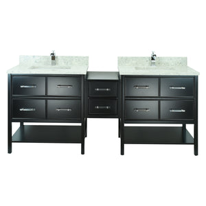 "74"" Black Gemma Vanity with Topaz Quartz"