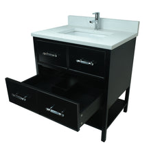 "Load image into Gallery viewer, 30"" Black Gemma Vanity with Classic Calcutta Quartz"