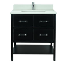 "Load image into Gallery viewer, 30"" Black Gemma Vanity with Silk White Quartz"