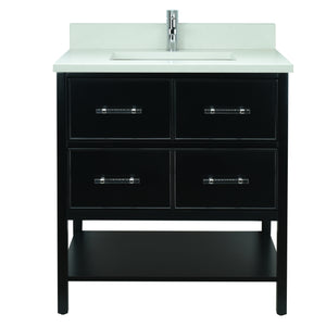 "30"" Black Gemma Vanity with Silk White Quartz"